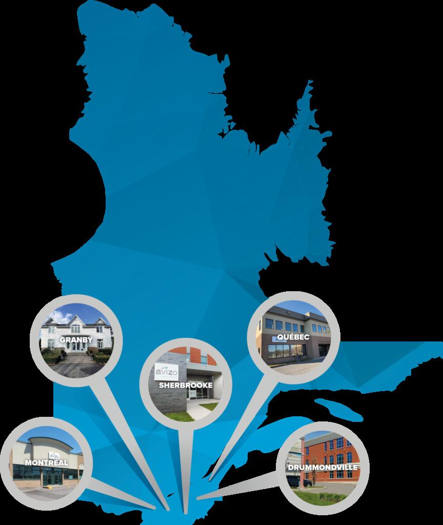 Carte du Québec avec la position de 5 bureaux dans le sud du Québec