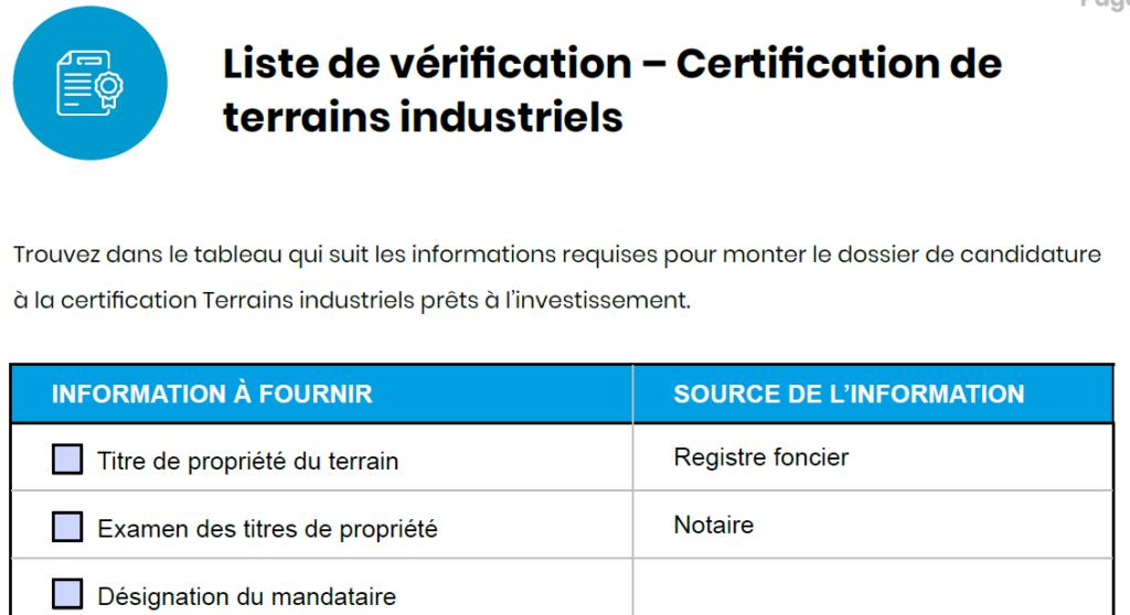 aperçu d'une liste de vérification pour la certification de terrains industriels